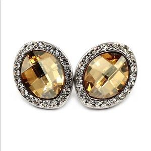 Noble yellow crystal oval earrings